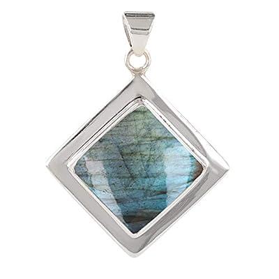cadeau personnalisé femme-Pendentif - Labradorite-forme carrée- Argent massif rhodié-Femme