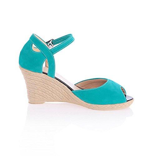 Odomolor Donna Puro Pelle Di Mucca Tacco Alto Fibbia Sbirciare Heeled-Sandals Azzurro