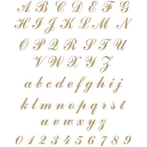 Stencil Deco Abecedario 017. Medidas aproximadas: Medida exterior del stencil: 20 x 30 cm Medida del diseño:3 x 1,9 cm Medida de la figura 1: 3 x 1,9 cm Medida de la figura 2: 1,8 x 0,8