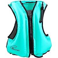 Rrtizan Unisex-Erwachsene Tragbar Aufblasbare Schwimmweste Floatageweste Auftriebshilfe Fischen-Weste ideal für den Wassersport, Schnorchelnd,Schwimmen, Fahren, Surfen, Tauchen, Bootfahren, Kayaking, Canyoning
