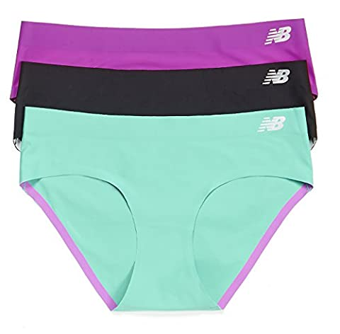 New Balance Women's Bond Hipster Panties (3 Pack), Azalea Purple/Black/Reef Green, Medium