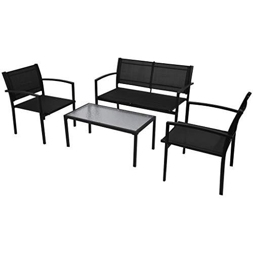 Vidaxl set mobili da giardino 4 pz tavolino sedie e panchina da esterno nero