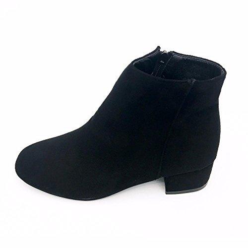 XINANTIME - Zapatos de mujer Botas Mujer Botines para Mujer Otoño Botas de tacón plano con cremallera, Botines para Mujer (38, Negro)
