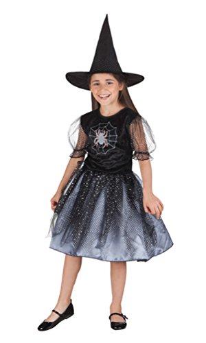 (Karneval-Klamotten Hexenkostüm Kinder Mädchen Kostüm Hexe Spinne schwarz inkl. Hexenhut Halloween Größe 104-116)