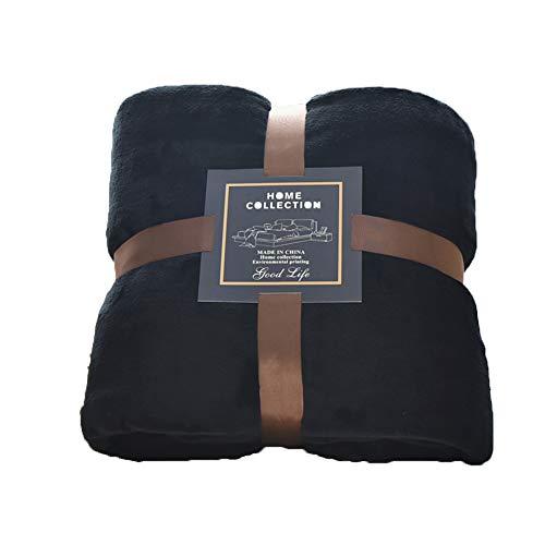 nfarbe Flanell Decke, Gemütliche Faux Pelz Microfiber Tagesdecke Lightweight Werfen Sofa Bett Kuscheldecke-schwarz 180x200cm(71x79inch) ()