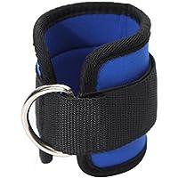 Sangle de Cheville - TOOGOO(R)Sangle de Cheville avec D-bague pour Sport Gym Fitness Musculation Halterophilie bleu noir