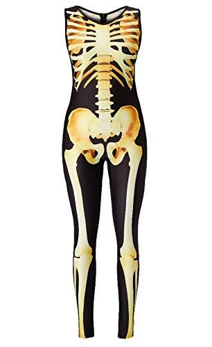RAISEVERN 3D Digitaldruck Ghost Skeleton Bodysuit Sexy Einteiler Halloween Kostüm Lustige Einzigartige Haut Anzug Catsuit Overall für Junge Erwachsene Weibliche Frauen - Weiblichen Ghost Kostüm
