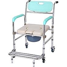 flashing lights- Aleación de aluminio Polea se sienta en silla plegable silla de baño Vieja mujer embarazada personas con discapacidades WC