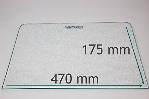 Kühlschrank Einlegeboden/Glasplatte / Gemüsefach – Strukturglas 4 mm dick - mit 2 Rundecken – 470 mm x 175 mm - Direkt vom Glasereifachbetrieb!!!