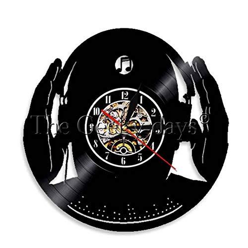 TPFEI 1 Stück Dj Wanduhr Club Party Mix Dance Musik Beat Kopfhörer Schallplatte Uhr Für Dj Club 3D Nachtlicht Dekorative