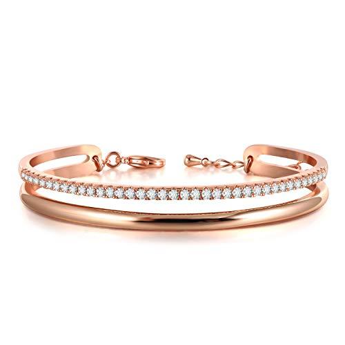 THEHORAE Roségold Damen armbänder Armreif für Frauen Geburtstagsgeschenk für Mama Frau Einstellbar Armkette Armband mit Regenbogen Kristallen von Swarovski