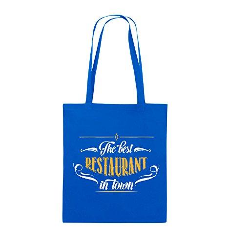 Comedy Bags - The best restaurant in town - Jutebeutel - lange Henkel - 38x42cm - Farbe: Schwarz / Weiss-Neongrün Royalblau / Weiss-Gelb