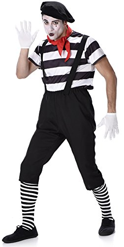 Mime Artist Mens Fancy Dress French Circus Carnival Fun Adult Costume Outfit