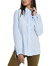 Scotch & Soda Maison Button Up Shirt with Small Ruffle Details, Chemises Femme