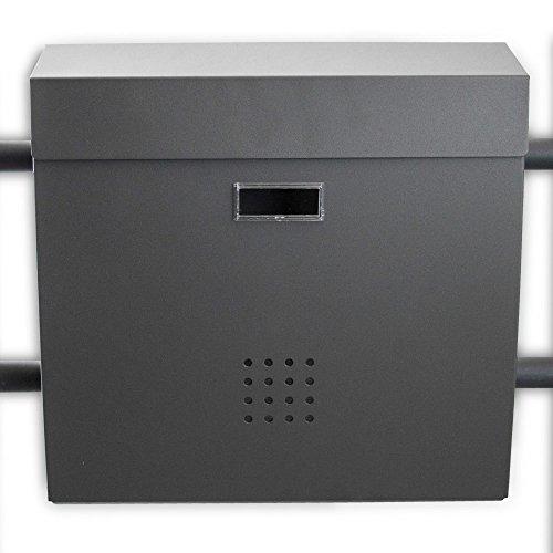 BITUXX® Freistehender Doppelstandbriefkasten Briefkastenanlage Briefkasten Einwurf oben Dunkelgrau Anthrazit - 4