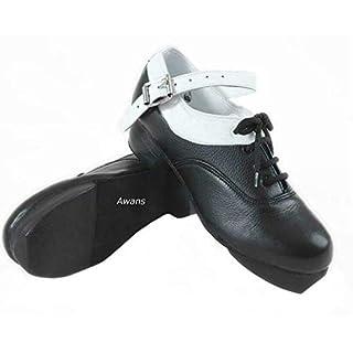 Awans Irish Dancing Heavy Shoes, Loud, Flexible,Soft, New Design White Lining Size: UK 2