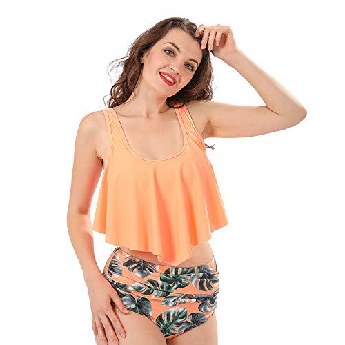 Bikinis Bikini Mujer Push Up Lanskirt Mujeres Conjunto de Traje de BañO Estampado Bohemio BañAdores con Relleno Trajes de BañO Mujer 2019 Bikini Estampado Dividido BañAdores (Naranja, L)