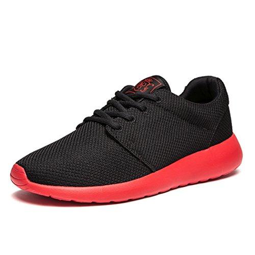 daillor Herren & Damen-air-breathing Mesh Laufschuhe, Walking Sneakers blackred
