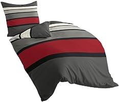Bierbaum 4757_63 Dessin Parure de lit en satin de coton mako Rouge, Satin mako, multicolore, 155 x 220 cm
