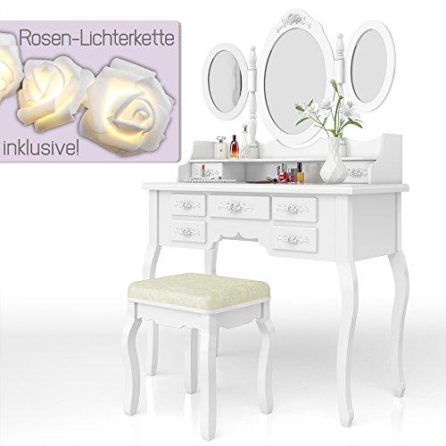 Schminktisch Kosmetiktisch Frisierkommode Frisiertisch Spiegel Queen Rose weiß mit Lichterkette