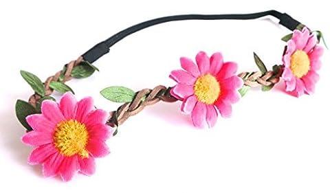 Réf1Z03 BAN.257 - Accessoires Cheveux - Headband Bandeau Cordon Suédine Tressée Camel - Couronne de Fleurs Marguerites Rose