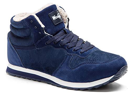 Gaatpot Herren Damen Stiefel Schneestiefel Hohe Sneaker Warm gefütterte Schnürstiefel Schuhe Blau EU 39 = CN 40