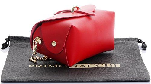 Borsa da sera Mini piccolo Micro spalla a tracolla pelle italiana con tracolla a catena in metallo.Include sacchetto protettivo marca Rosso