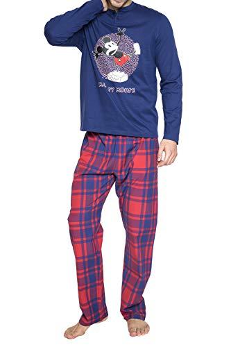 Disney Pijama Manga Larga Mickey Soap para Hombre* Pijama De Algodón Afelpado De Manga Larga, Pantalón Largo Y Cuello con Tapeta con Botones* Camiseta
