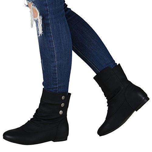 Schlupfstiefel Damen Stiefeletten Warm Gefüttert Stiefel Nieten Schwarz