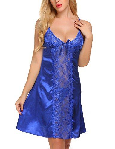 ADOME Satin Damen Negligee Nachtkleid Nachthemd Babydoll Rückenfrei Nachtwäsche Lingerie Träger Kleid Sleepwear mit Spitze Dekor