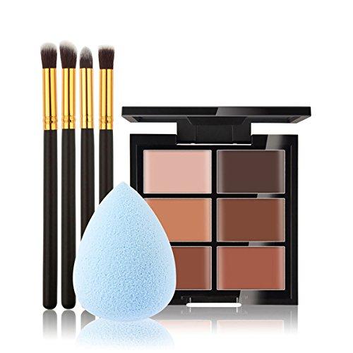 Ensemble de maquillage de maquillage de DISINO, 6 couleurs de palette de fond de concealer, 4 pièces de brosses d'or noires, morceau de poudre de forme bleue de morceau de 1 pièce