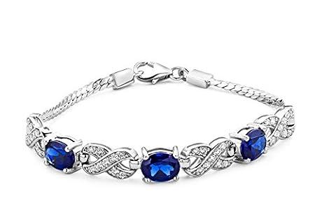 ByJoy - Collier avec Pendentif - Argent 925/1000 - Ovale - Bleu - Saphir de synthèse - Femme