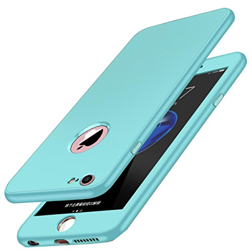 Coque iPhone 7 Plus Case Qissy® 2 IN 1 Ultra Léger 360 Full Body Shockproof Silicone TPU Non-Slip Skin Back Cover Case for IPHONE 6/6S PLUS Verde