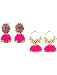 63c63c76e Party Wear Silk Thread Two Models In one set Pink Color Jhumka Earrings