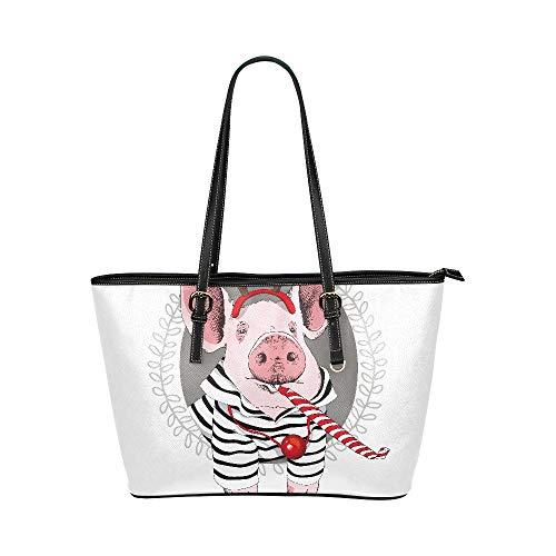 Damen Mädchen niedlichen Cartoon Schwein große weiche Leder tragbare Top Griff Hand Totes Taschen kausalen Handtaschen mit Schulter einkaufen Geldbörse Gepäck Organizer für die Arbeit der Dame Girls