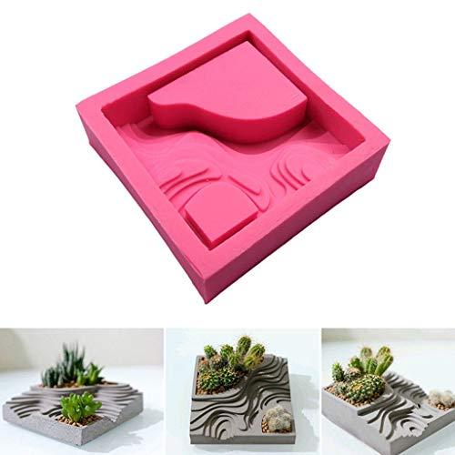 HONIC Flor de la Planta suculenta Pot Molde del silicón de Cemento...