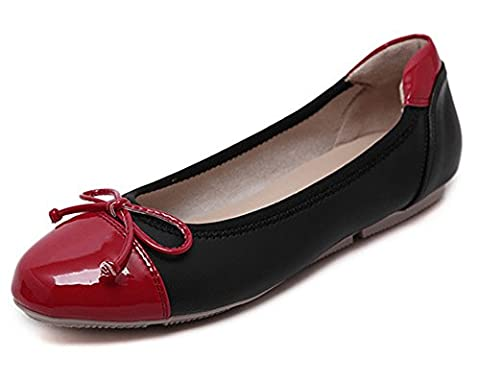 Minetom Women Comfortable Color Blocked Flat Pumps Ladies Sweet Bow Tie Round-headed Work Girls Dolly Ballet Casual Shoes Black UK 5.5
