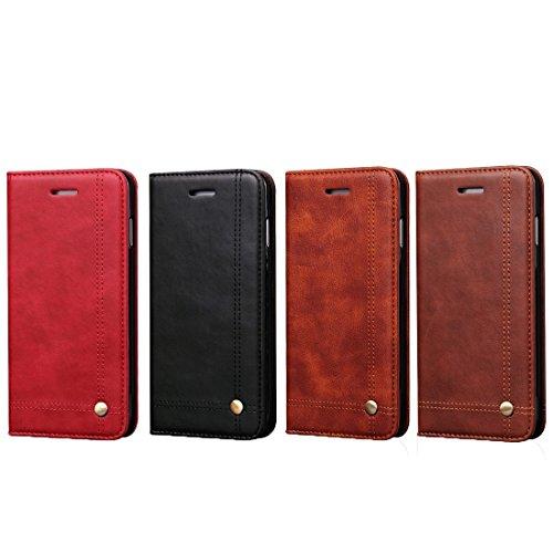 Wkae Case Cover Für iPhone 5 &5s &SE Crazy Horse Texture Horizontal Flip-Ledertasche mit Karten-Slots und Brieftasche ( Color : Red ) Coffee