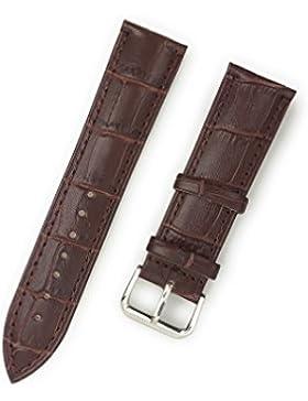 Uhrenarmband aus echtem Leder 22 mm Braun Kroko-Optik - 22mm Uhren Armband
