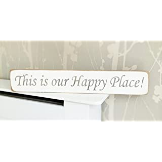THIS IS OUR HAPPY PLACE Solid Wood Home Decor Sign Plaque Handmade By Vintage Product Designer Austin Sloan