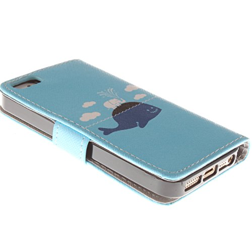 MOONCASE iPhone 5 Case Dessin Coloré Coque en Cuir Haute Qualité Portefeuille Housse de Protection Étui à rabat Case pour iPhone 5 5S -LK23 ST11
