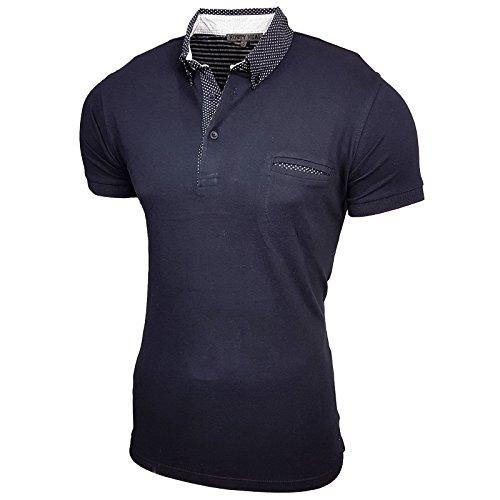 Rusty Neal Herren Poloshirt Kurzarm Stehkragen Slim Fit Design Fashion 15129 Blau