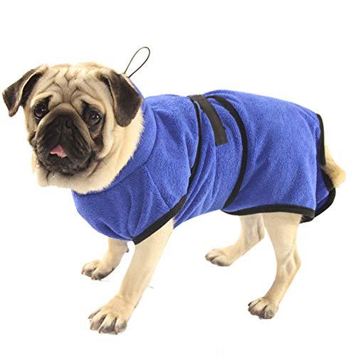 Petcomer Mikrofaser Hund Bademantel Waschbare Katze Schnell trocknend Badetuch Super Absorbent Pet Coat mit verstellbaren Trägern Blau (L) -