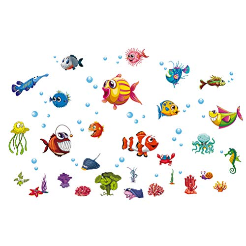 Underwater World Fish School Etiqueta de la Pared removible Octopus Coral Cangrejo Burbuja de Vidrio Ventana translúcida Etiqueta engomada del PVC