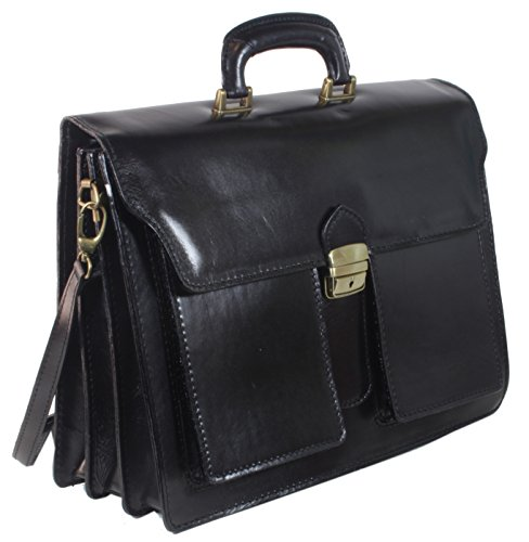 taschenTrend - Mascali Aktentasche Lehrertasche Business Bags Glattleder XXL Aktenkoffer DIN-A4 Leder Taschen Damen Herren Umhängetaschen Messenger 12 - 15 Zoll UNISEX 40x28x14,5 cm (B x H x T) Schwarz