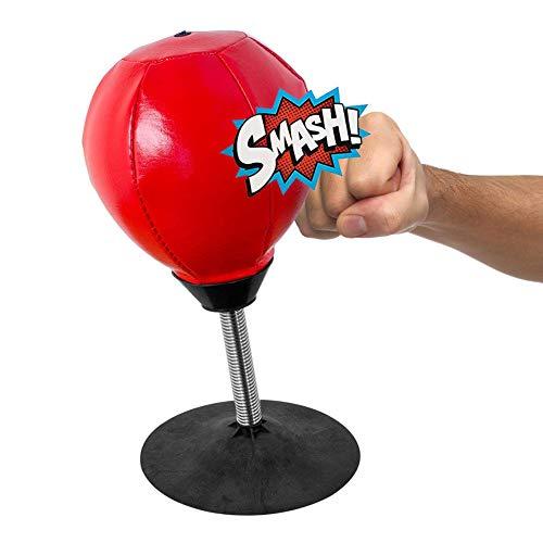 Z-overlord Punchingball Tisch, Boxbirne Schreibtisch, Büro Punching Ball,13 * 31 cm Anti Frust,Rot