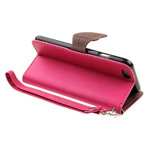 """iPhone 6S plus Wallet Case, Felfy Grün Slim Flip Folio Bookstyle Schutzhülle Case Cover für Apple iPhone 6 / 6S plus 5.5"""" Unique Baum Blatt Magnetverschluss Stil Standfunktion Kartenfach mit Abnehmbar Hot Pink"""