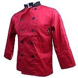 MagiDeal Unisex Kochjacke Langarm Baumwolle Küche Hotel Kochkleidung Uniform Berufsbekleidung - Rot, XL