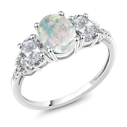 10K White Gold 2.10 Ct Cabochon White Simulated Opal White Topaz 3-Stone Ring
