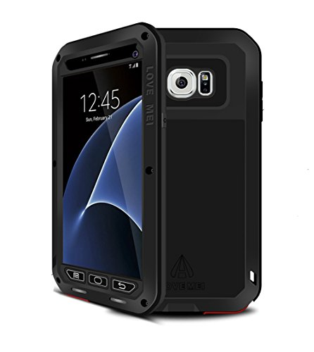 Love Mei - Carcasa de aleación de aluminio resistente al agua, a prueba de golpes para Samsung Galaxy S7, de Gorilla Glass, compatible con Samsung Galaxy S7